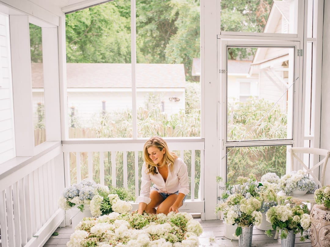 Lucy Cuneo previewing hydrangeas for her fine art flower series