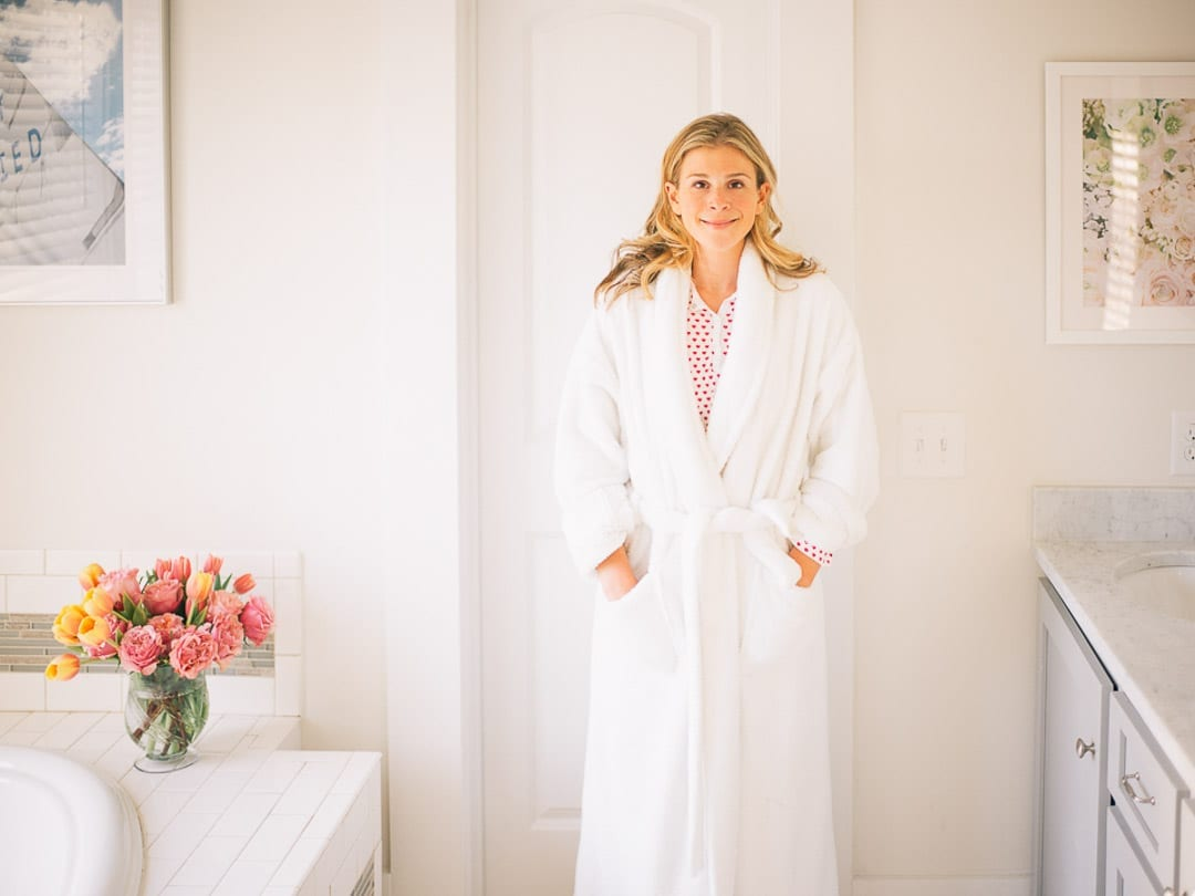 Lucy Cuneo In Bathrobe, Sharing her Skincare Secret Weapon