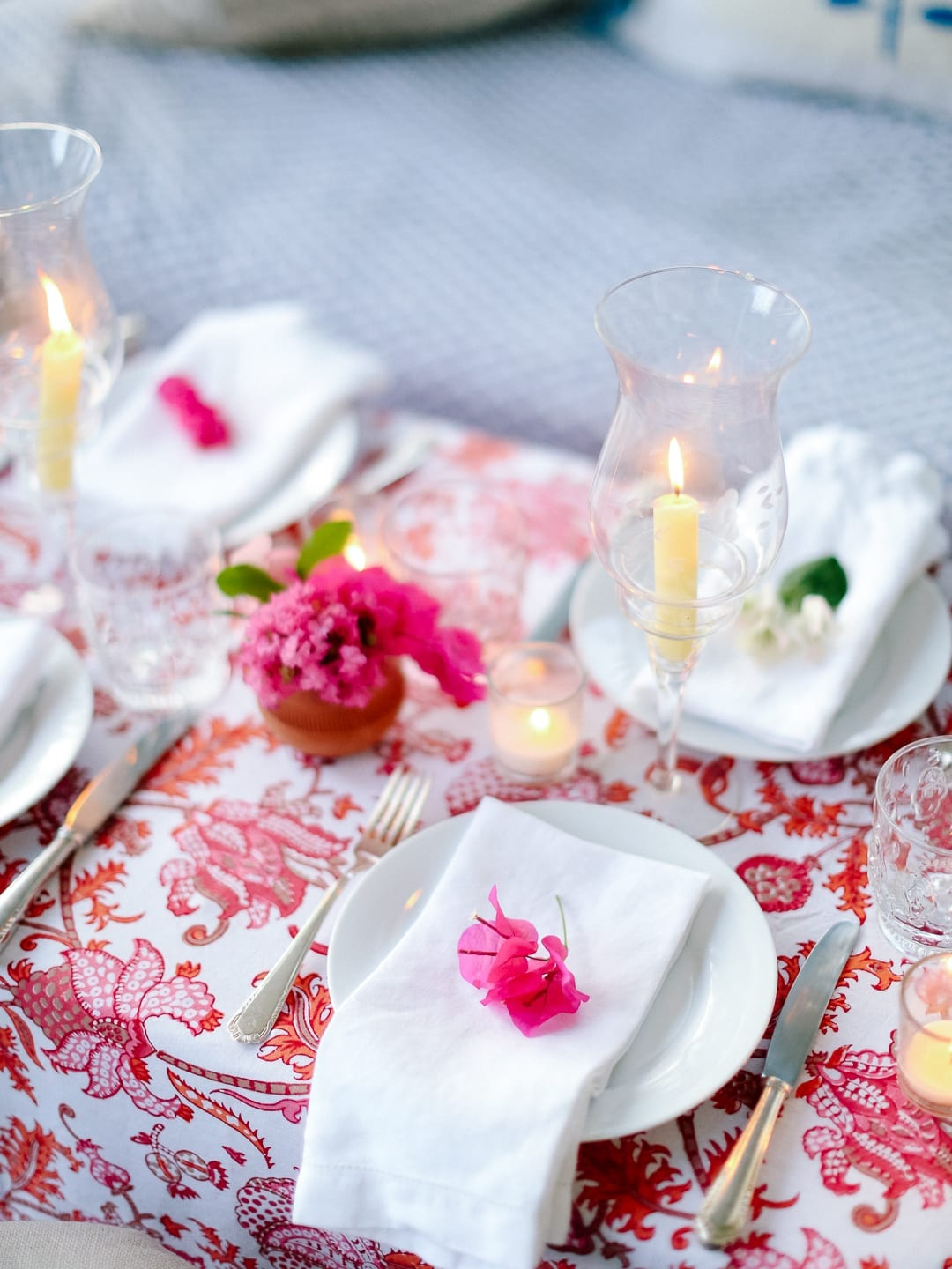I Love How Glowy This Table Gets; The Combination Of The Pink Table Cloth  From Roberta Roller Rabbit, The Bougainvillea And The Candles Make For The  Picture ...