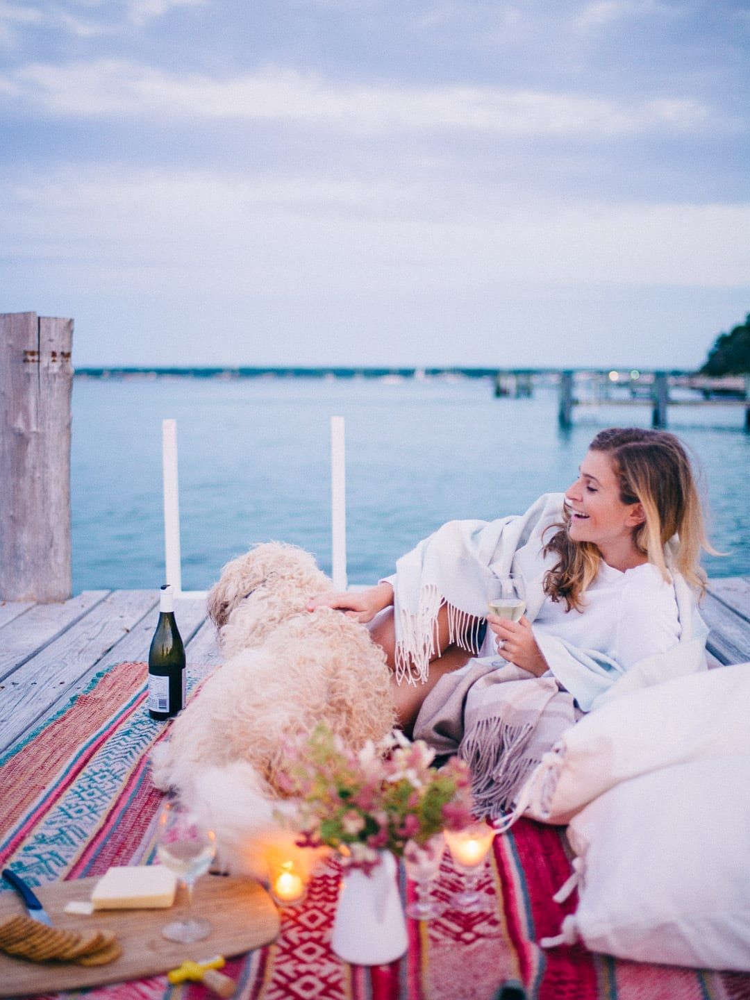 Date night on a dock in Martha's Vineyard