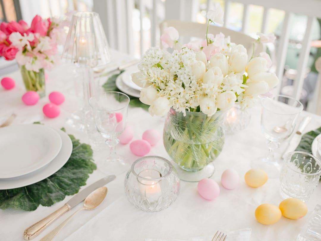 easter table springtime outdoor
