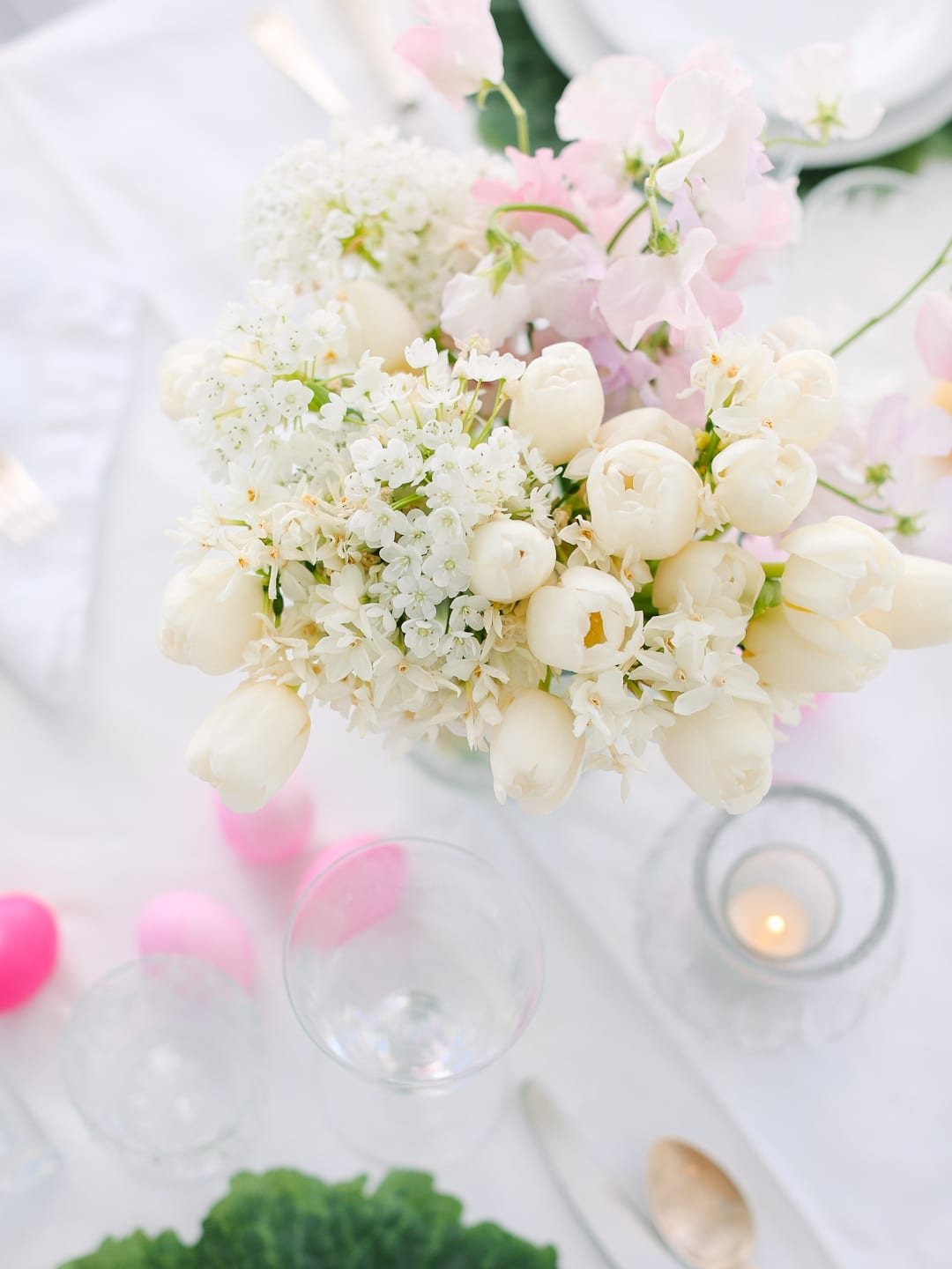 white easter flowers on table