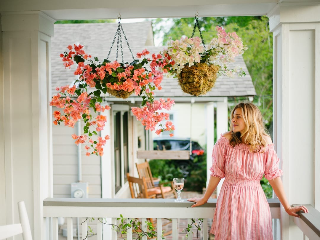 Lucy Cuneo Enjoying Her Bougainvillea Hanging Baskets