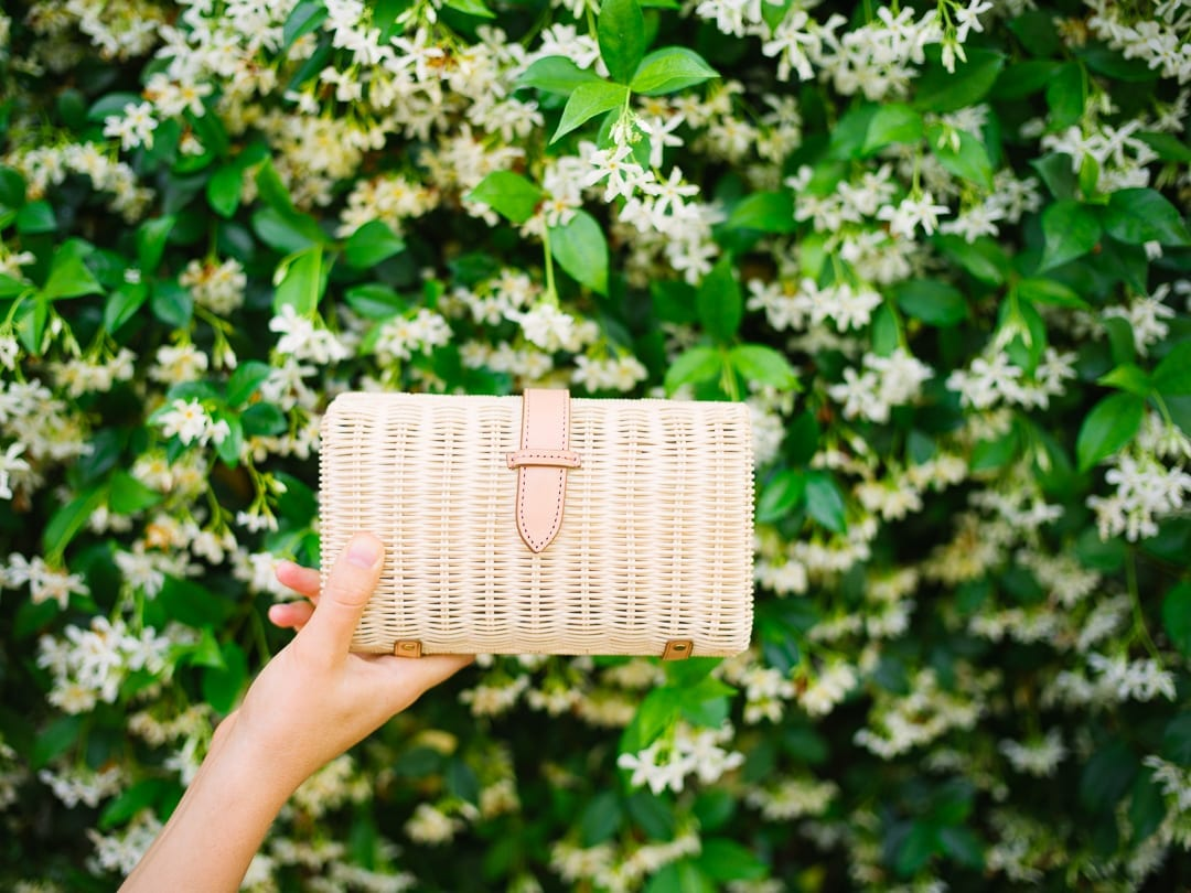jcrew clutch in front of jasmine