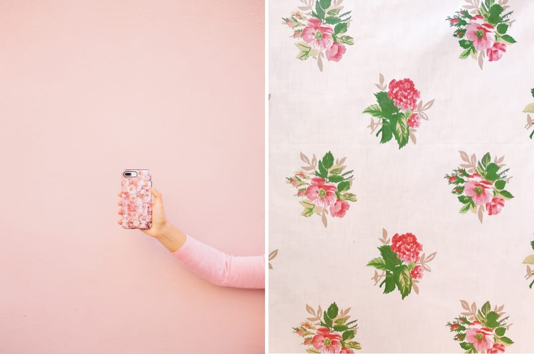 Pink color inspiration phone case and fabric
