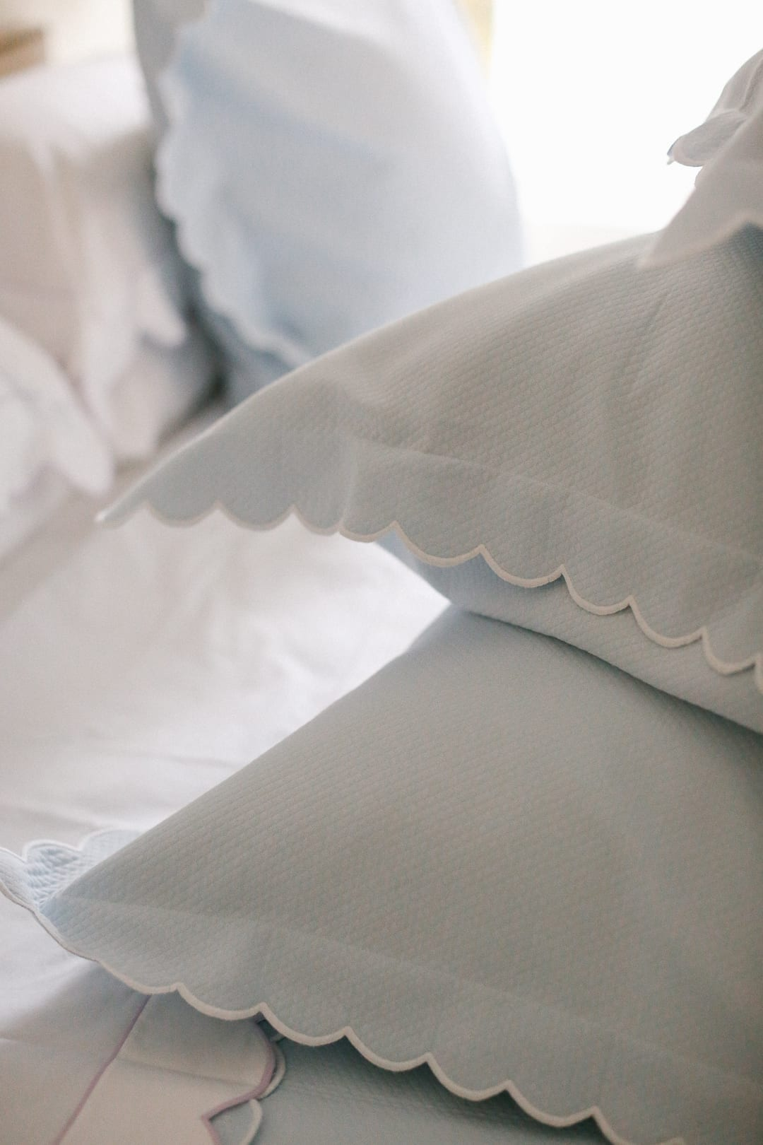 Dreamy Bedding with Matouk - Scalloped edged pillows
