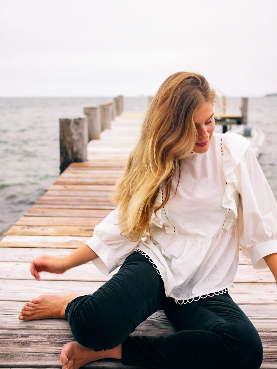 Perfect Velvet Trousers for Fall - Relaxing On My Favorite Dock